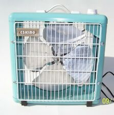 "Vintage Eskimo Metal Box Fan Turquoise Blue 14.5"" x 15"" Tested, Runs Fine"