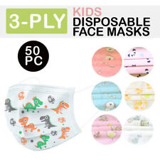 Child Kids Toddler 50 Pk Protection Disposable Face Mask 3 Ply Ear Loop