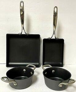 Technique 4 Piece Hard Anodized Nonstick Square Fry Pans And Cookware Pots