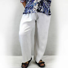 NEW Chalet et Ceci Plus Size 100% Linen White Stretch Pants 1X Made in USA