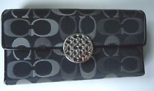 COACH WALLET BLACK-GRAY SIGNATURE JACQUARD ROUND TRADEMARK BUTTON LOGO VGUC