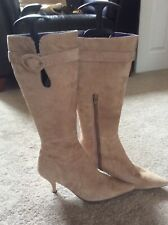 Nine West Fudge Brown Leather Suede Knee High Stiletto Boots Size 5 EUR 38 US 7w