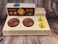 1978 Vintage Fisher-Price Stove Top  #919 MAGIC BURNERS Blue Bell Yellow Knobs