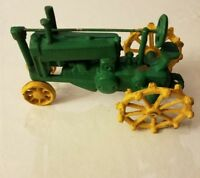 """ANTIQUE CAST IRON GREEN/YELLOW TRACTOR 8"""""""