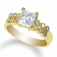 Ladies Sterling Silver Yellow Gold Plated Solitaire Ring  CZ Clear SIZE 4-10