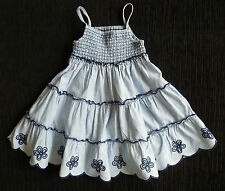 Baby clothes GIRL 9-12m George blues smocked cotton dress 2nd item post-free!