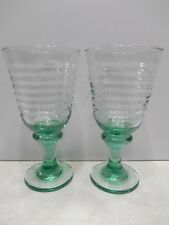 """Set Of 2 Lovely Aqua Green Blown Water/Wine Goblets, 7 3/8"""" Tall"""