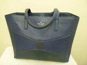 KATE SPADE Large Blue Pebbled Leather Bow Inlay Tote Handbag Satchel School Bag
