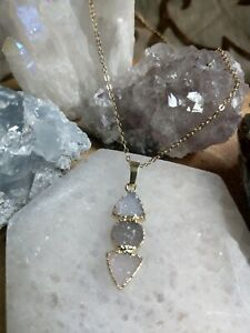 Tripe Druzy agate crystal healing spiritual support necklace non tarnish