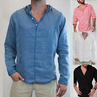 Mens Hooded V Neck Long Sleeve  Button T-Shirt Casual Slim Fit Linen Shirt Tops