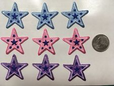 "star patches 1.5"" wide STARS iron on embroidered applique (9 pc. lot)"