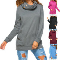 Womens Long Sleeve Plain Basic Tops Sweatshirt Ladies Stretch T-Shirt Pullover