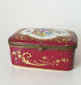 Vintage Le Tallec France porcelain dressing table box hand painted Red Gilt