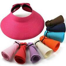 Women Sun Visor Hats Golf Summer Casual Foldable Roll Up Wide Brim Cap Straw Hat