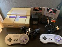 Super Nintendo SNES System Console Bundle 2 OEM Controllers 2 games Look!!