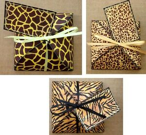 Animal print gift box party favor table decoration assorted designs set of 6