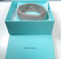 Tiffany & Co. Sterling WIDE Somerset Bangle Bracelet 119.2 gms*Tiffany Pouch/Box