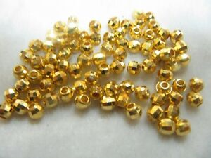 NEW 10pcs 24K Yellow Gold faceted Round Bead 1.8g / for Bracelet