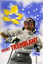 Mont Tremblant Canadian Vintage Travel Poster Rolled CANVAS ART PRINT 24x36 in.