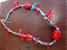 Beautiful natural Red Coral Turquoise and glass Necklace beads bead crystal