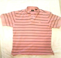 Izod Men's Polo Pink with Black Stripes Short Sleeve Button Collar Size Medium