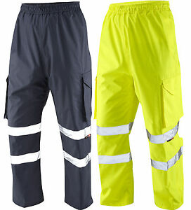 Leo L01 Appledore HiVis Waterproof OverTrousers Yellow & Navy Sizes S - XXXL