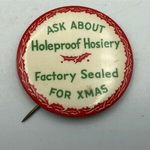 Vintage Ask About Hole Proof Hosiery Factory Sealed For Xmas Christmas Pin   M2