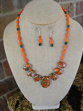 HANDMADE BRIGHT ORANGE SEA SEDIMENT PENDANT ORANGE TEARDROP JADE TOGGLE  CLASP
