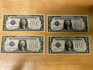 Lot of 4 1928 Uncirculated 1 Dollar Silver Certificates - Funny Back, A+ Shape