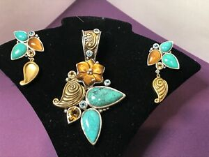 Echo of the Dreamer Carribean Turquoise Topaz Sterling Earrings & Pendant Set