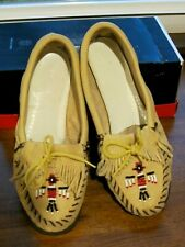 Rare Vintage Ladies Deerskin Moccasins 1950 Panco Rubber Soles Excellent Size 8