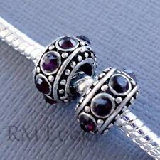 2 pcs Purple Crystal Charms Large hole Beads fit European style Bracelet. C76
