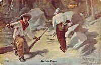 THE CATTLE THIEVES-RIFLES & PISTOLS~W SCHULTZ ARTIST DRAWN 1907 COWBOY POSTCARD