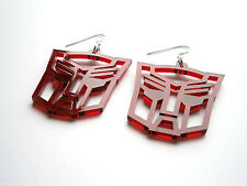Autobot Earrings - Laser Cut Red Transparent Acrylic  Transformers Jewelry -SALE