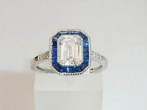 Dames Art Déco Halo Design Bague Saphir Bleu et Blanc en Argent Massif 925