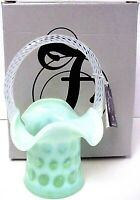 Fenton Glass Willow Green Opalescent Coin Dot Basket New Mint In Box