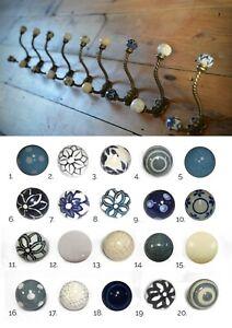 Blue & White Ceramic Knob Antique Iron Twist Hook   Shabby Chic Coat Hook