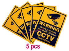 5pcs CCTV Security Camera Warning Stickers / Signs for Shop Hotel Office Vehicle
