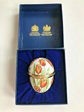 Halcyon Days Classic Enamel Egg Red Tulips Spring Pill, Trinket Box Iob