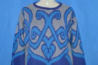 vintage 80s JUST LIKE A WOMAN PURPLE BLUE GRAY WOMEN'S ABSTRACT SWEATER LARGE L