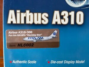 """1/200 HOBBYMASTER HL6002 PAN AM AIRBUS A310-300, N818PA """"MORNING STAR"""" W / STAND"""