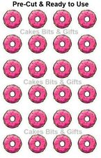 24x DONUTS PINK ICING Edible Wafer Cupcake Toppers PRE-CUT Ready to Use SIMPSONS