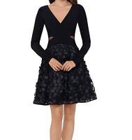 Xscape Womens A-Line Dress Black Size 12 Floral-Applique-Mesh V-Neck $229- 088