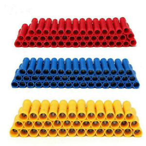 200PCS Insulated Straight Butt Wire Connectors Electrical Cable Crimp Terminals