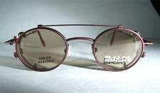 Small Round VTG Retro BUM Steampunk Brick Red Eyeglass Frames Sunglass Clip OZZY
