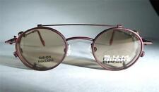 1339331a31 Small Round VTG Retro BUM Steampunk Brick Red Eyeglass Frames Sunglass Clip  OZZY