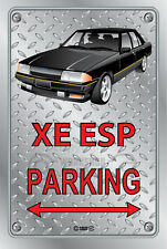 Parking Sign - Metal - Ford XE ESP BLACK WITH FR 18 SIMMONS  - Checkplate look