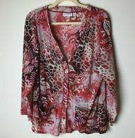Susan Graver Women's Cardigan Top Size 1X Pockets Floral Button Front 3/4 Sleeve