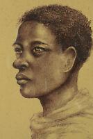 Beau  Tableau  Ancien portrait de jeune Homme Malgache art déco signé Madagascar