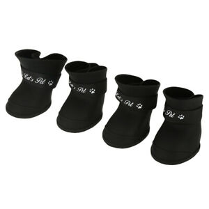 4pcs Silicone Pet Dog Cute Waterproof Boots Anti-slip Rain Shoes M Black